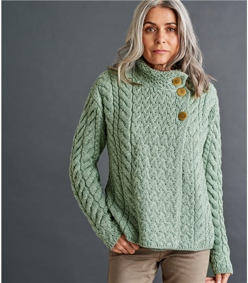 Womens Merino Super Soft Cable Button Cardigan