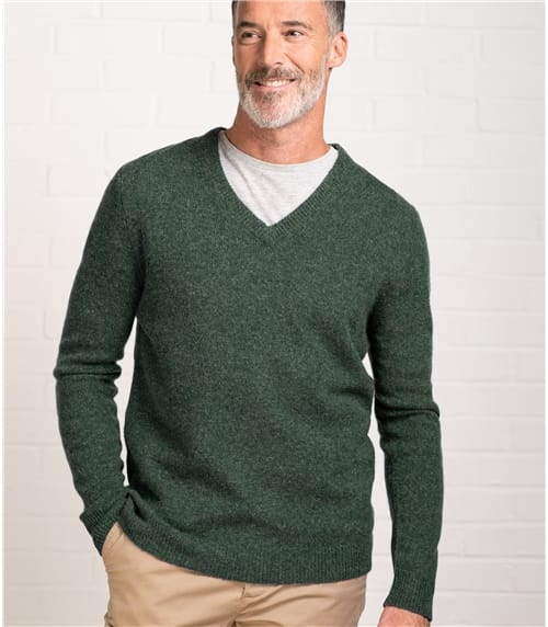 Mens Lambswool V Neck Knitted Sweater
