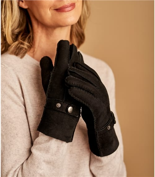 Womens Buckle Detail Sheepskin Glove