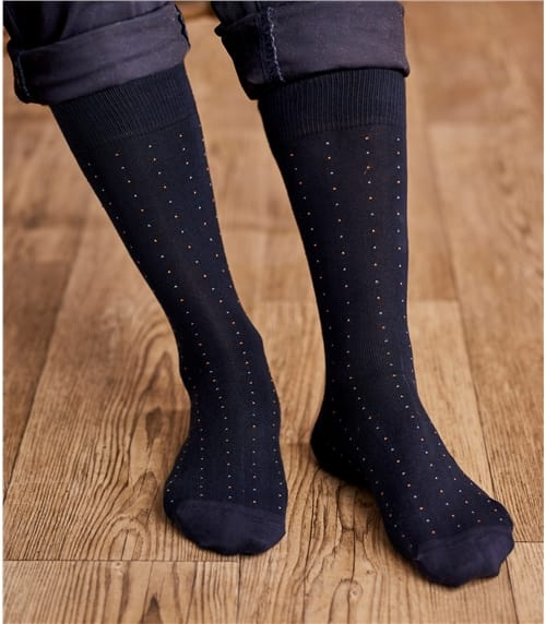 Mens Pima Cotton Pin Spot Sock