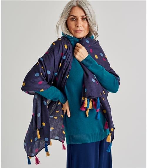 Womens Wool Spot Tassel Scarf