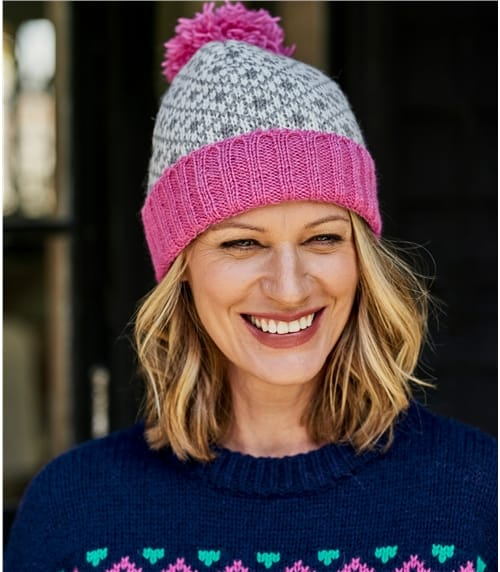 Mütze mit 2 Farbiger Norwegermuster und Colourblock aus reiner Wolle für Damen