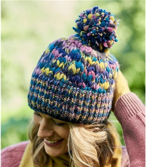 Womens Wool Super Chunky Multi Knit Hat