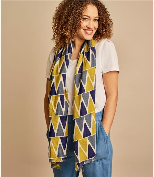 Foulard à motif triangles multicolores - Femme - Pure Laine