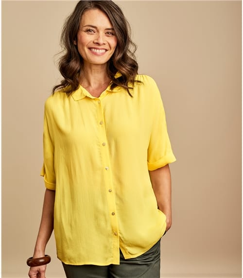 Womens Button Through Boxy Shirt