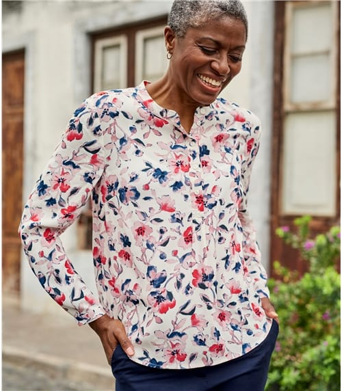 Womens Collarless Printed Blouse