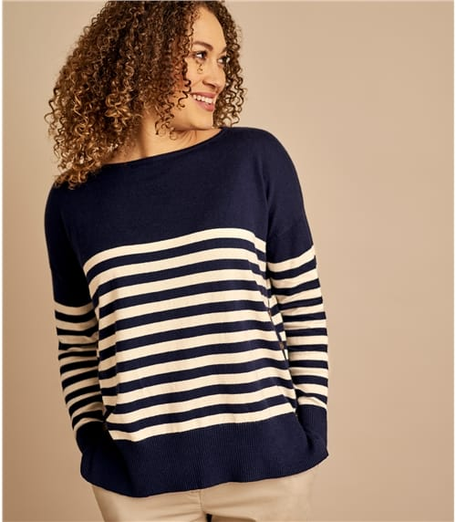 Womens Breton Stripe Dropped Shoulder Sweater