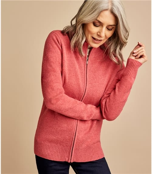 Womens Lambswool Fitted Zip Thru Cardigan