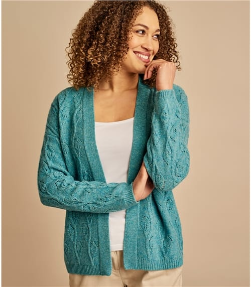 Womens Lambswool Leaf Pointelle Edge To Edge Cardigan