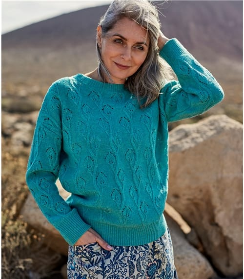Womens 100% Lambswool Leaf Stitch Jumper