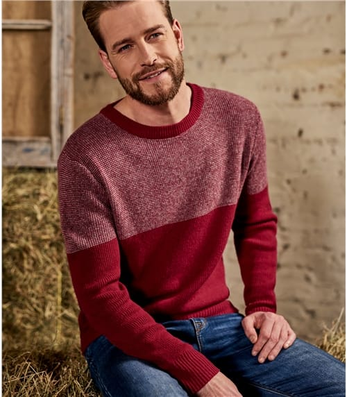 Mens Lambswool Birdseye Colour Block Jumper