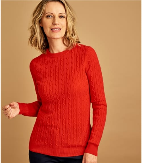 Womens Cashmere Merino Cable Crew Neck Sweater