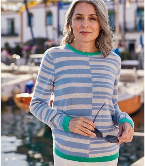 Womens Cashmere Merino Offset Stripe Jumper