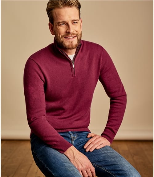 Mens Cashmere and Merino Zip Neck Jumper