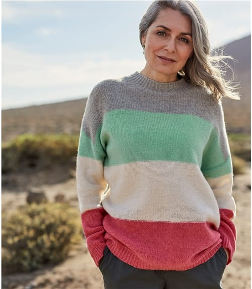 Womens Pearl Stitch Colourblock Jumper