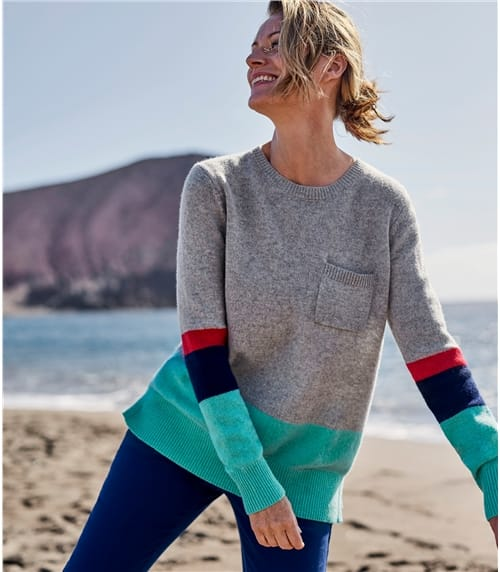 Womens Colour Block Pocket Jumper