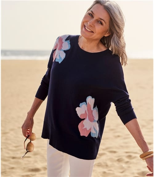 Womens Merino Blend Flower Placement Jumper