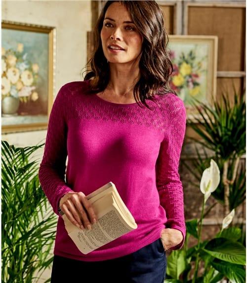 Womens Cotton Blend Pointelle Yolk Seleve Sweater