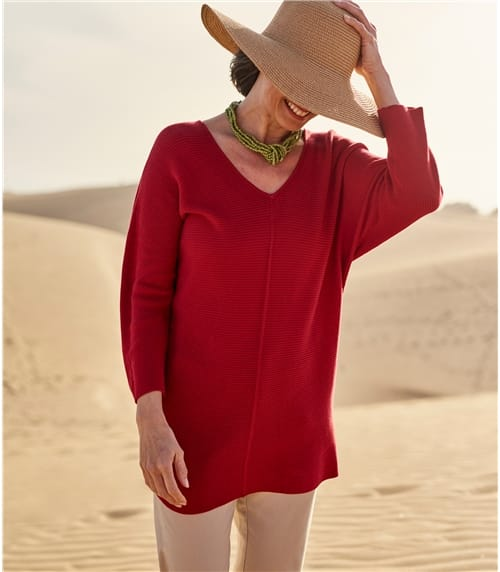 Womens Cotton Relaxed Rib V Neck Sweater