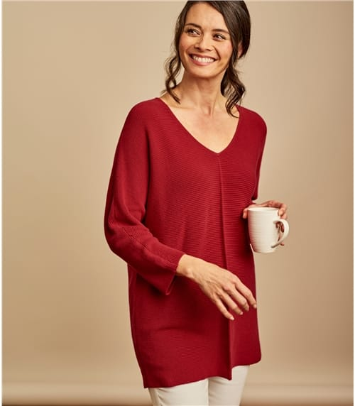 Womens Cotton Relaxed Rib V Neck Jumper