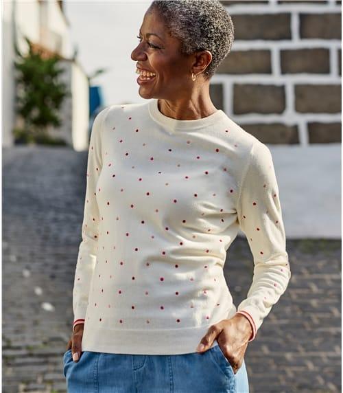 Womens Wool Blend Embroidered Spot Jumper