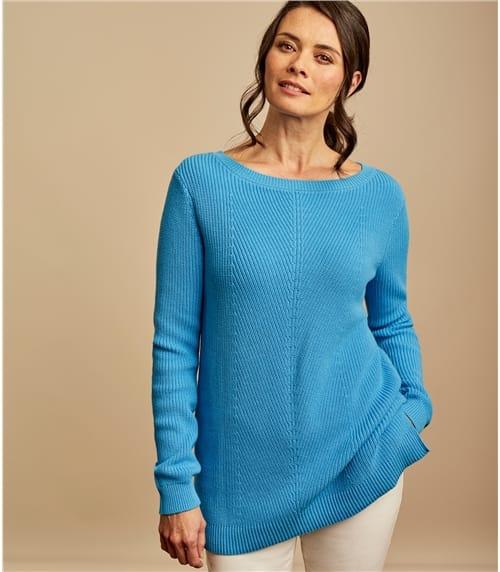 Womens Boat Neck Chevron Panel Sweater