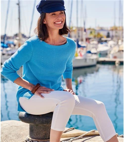 Womens Boat Neck Chevron Panel Jumper