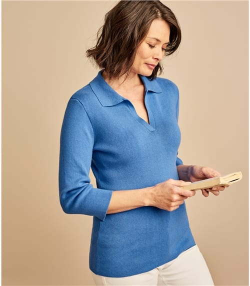 Womens Cotton Cashmere Open Polo Neck Top