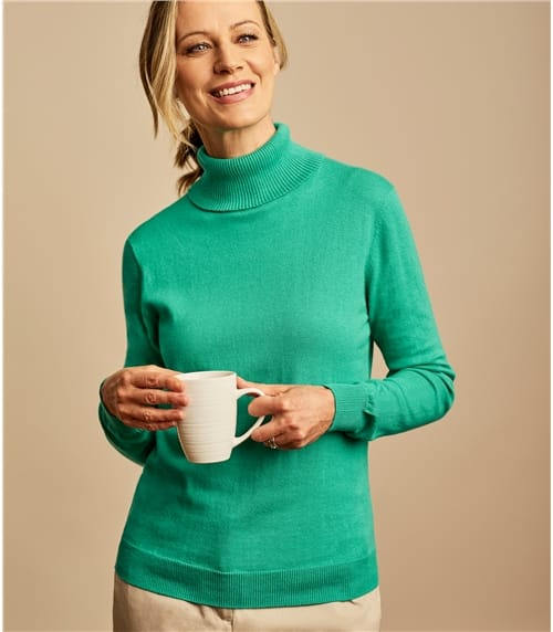 Silk and Cotton Polo Neck Jumper