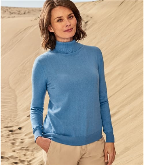 Womens Silk and Cotton Polo Neck Jumper