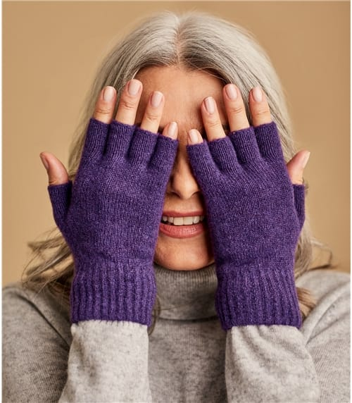 Womens Lambswool Fingerless Gloves