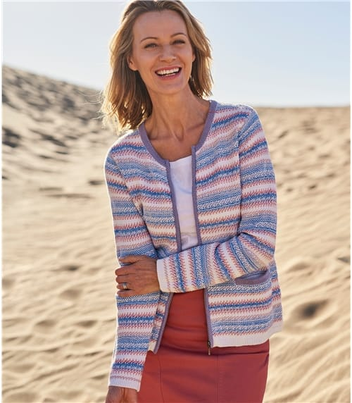 Womens 100% Cotton Textured Zip Up Cardigan