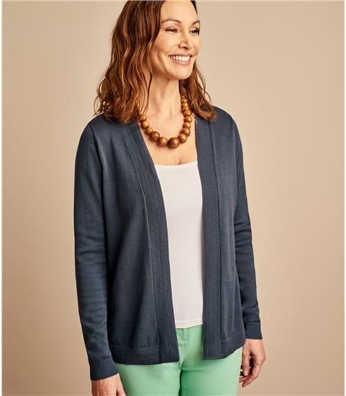 Womens 100% Organic Cotton Edge To Edge Cardigan