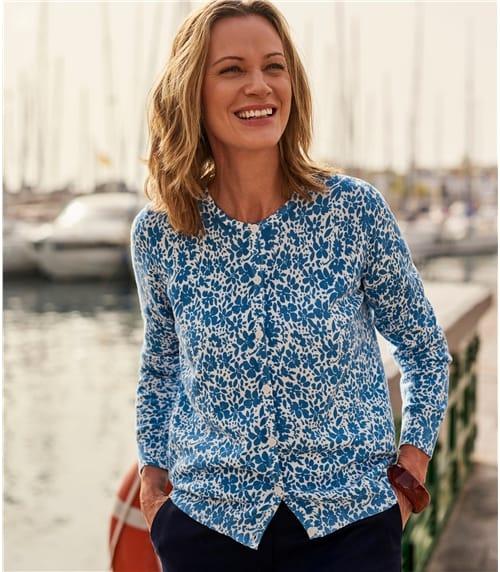 Womens 100% Organic Cotton Floral Printed Cardigan