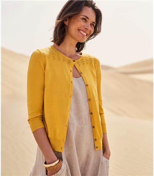 Womens Linen Blend Pointelle Cardigan
