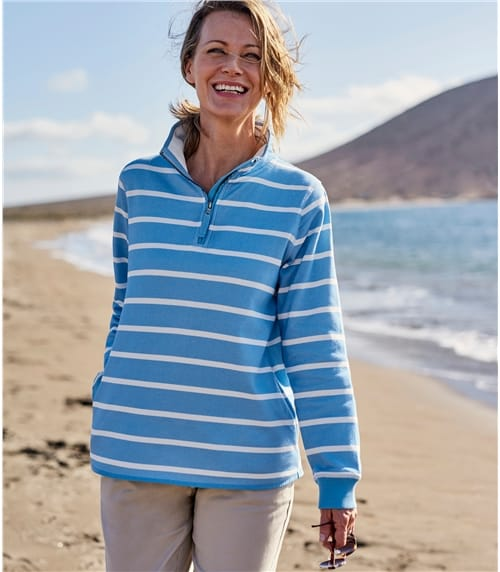 Pullover mit Reißverschluss aus Baumwolle für Damen
