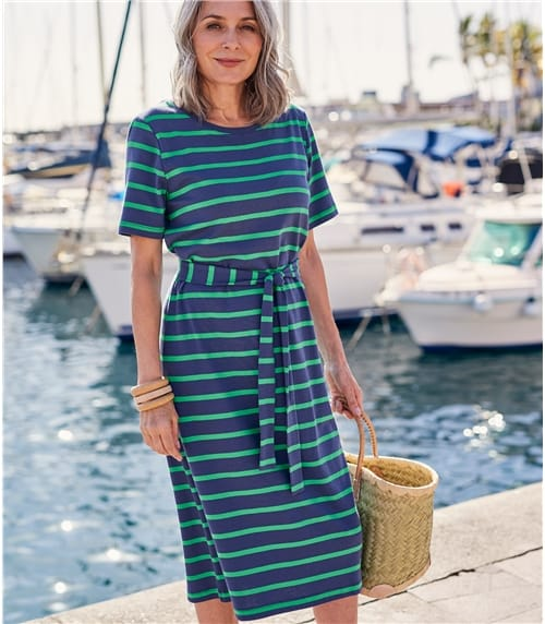 Womens Tie Waist T-Shirt Dress