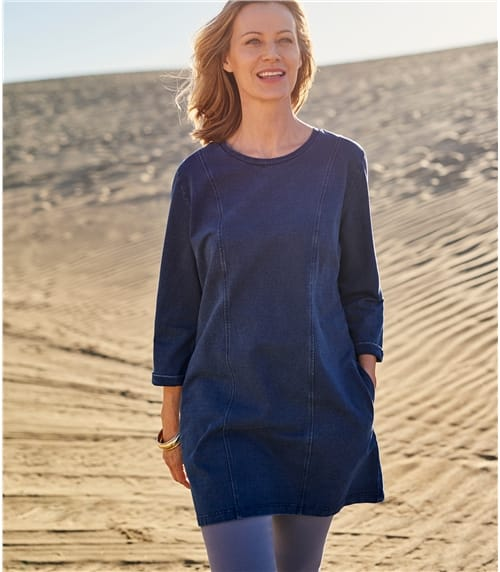 Womens Denim Look Side Pocket Tunic
