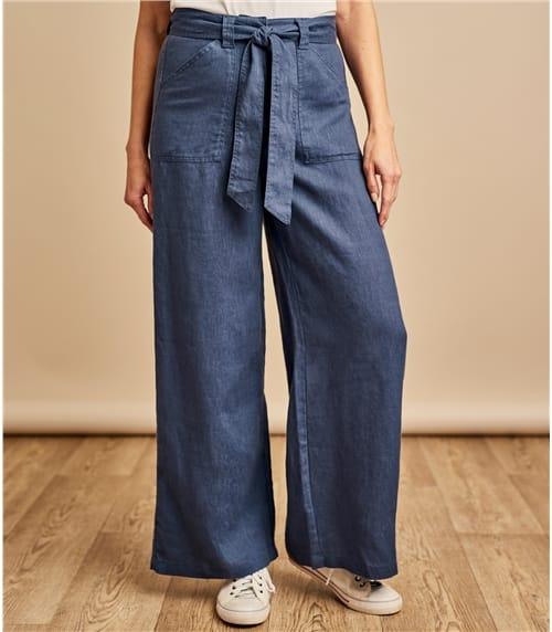 Womens Wide Leg Linen Trousers