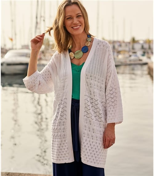 Womens 100% Cotton Crochet Cardigan