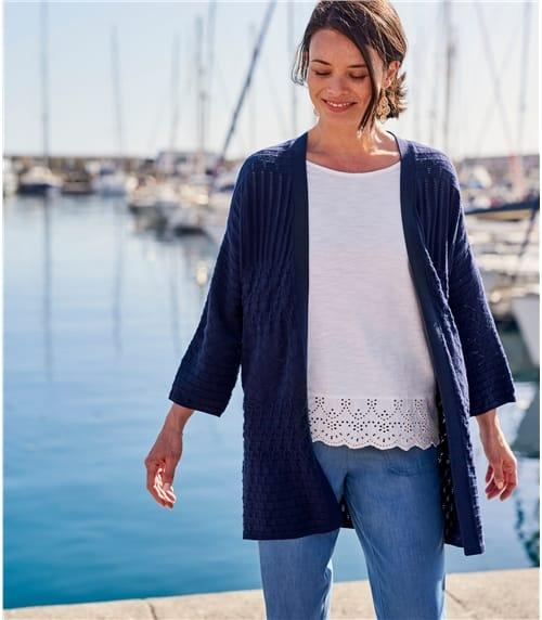Häkel-Strickjacke aus Baumwolle für Damen