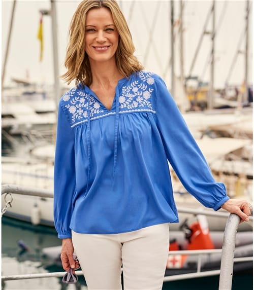 Womens Embroidered Panel Blouse