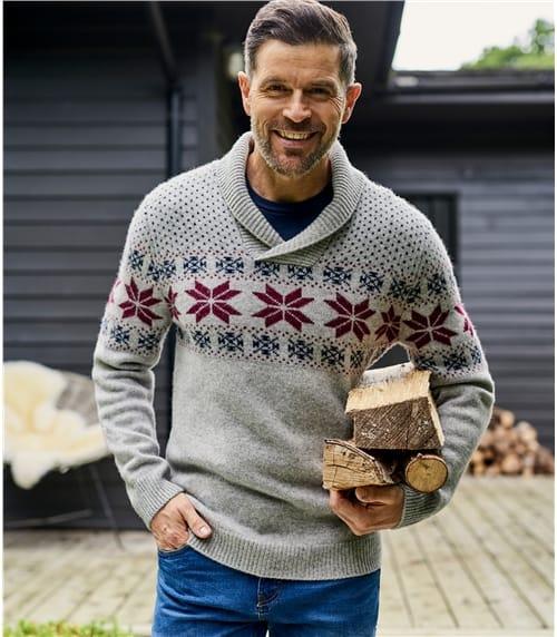 Norwegerpullover mit weitem Kragen aus Lammwolle für Herren