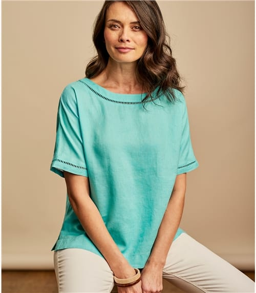 Womens Linen Ladder Insert Trim Tee