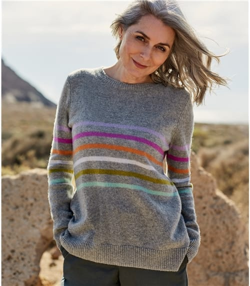 Womens Pure Merino Stripe Sweater