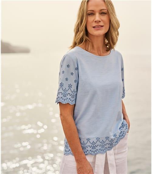T-shirt détail brodé - Femme - Jersey