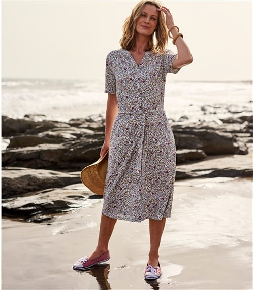 Womens Button Through Jersey Dress