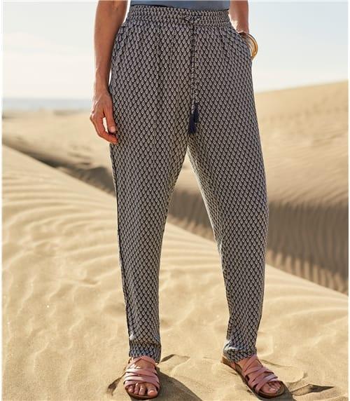 Womens Printed Tapered Leg Trouser