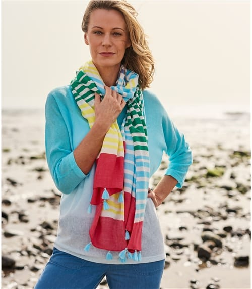 Womens Bamboo Multi Stripe Scarf