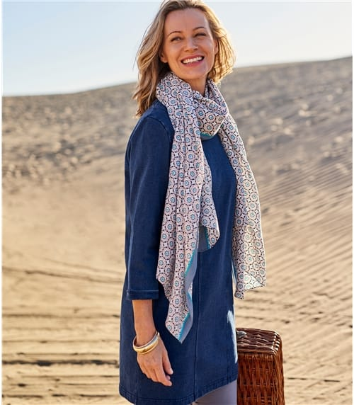 Womens Bamboo Tile Print Scarf